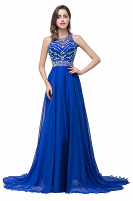 Newest Royal Blue Chiffon Prom Dress UK A-line Beadings Sweep Train_1