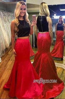 Luxury Black Red Mermaid Two-Piece Sleeveless Evening Dress UK_1