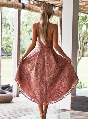 Modest Spaghetti Strap A-line Hi-lo Homecoming Dress UK | Lace Short Party Gown_2