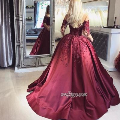 Crystal Appliques Long-Sleeves Off-the-Shoulder Burgundy Ball Prom Dress UKes UK_2