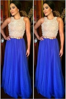 Gorgeous Jewel Sleeveless Long Prom Dress UK With Beadings_1