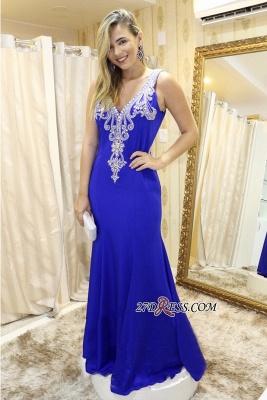 Royal blue prom Dress UKes UK,v-neck evening Dress UK_1