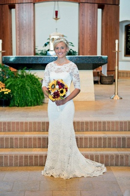 Elegant Illusion Lace Sexy Mermaid Wedding Dress Half Sleeve Sweep Train_1