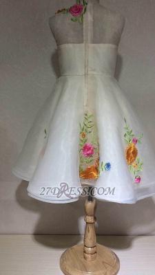 Beautiful Cinderella Embrodiary Flowers Sleeveless Flower Girl Dress_2
