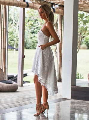 Modest Spaghetti Strap A-line Hi-lo Homecoming Dress UK | Lace Short Party Gown_5