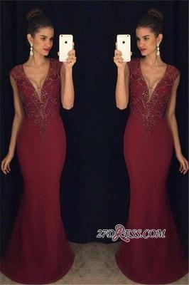 Mermaid Sleeveless Beadings Luxury Burgundy Prom Dress UK_1