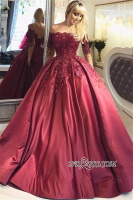 Crystal Appliques Long-Sleeves Off-the-Shoulder Burgundy Ball Prom Dress UKes UK_4