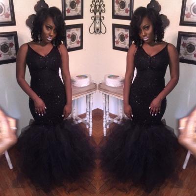 Elegant V-Neck Mermaid Party Dress UK | Tulle Prom Dress UK With Sequins BK0_3