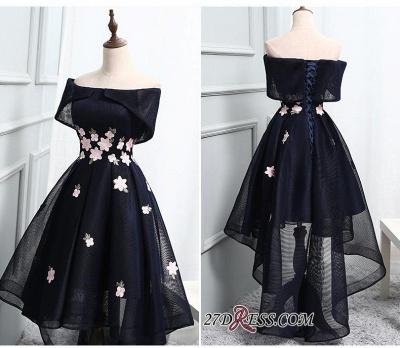 Luxury Hi-Lo Lace-up Prom Dress UK Off-the-Shoulder Party Dress UK_1