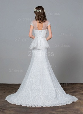 Modern Lace Tulle A-line Wedding Dress Beadss Sweep Train_4