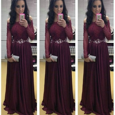 Stunning Long Sleeve Off-the-shoulder Evening Dress UKes UK Burgundy Lace Appliques Crystal_3