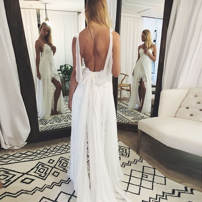 Chic Backless Lace Wedding Dresses UK Simple Side Slit Spaghetti -Strap Bridal Gowns_3