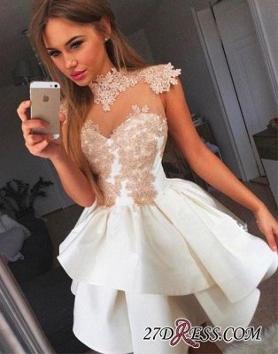 Lace-Appliques Delicate High-neck Cap-Sleeve Short Homecoming Dress UK BA7206_2