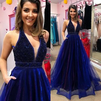 Sexy V-Neck Evening Dress UK   Prom Dress UK With Beadings_3