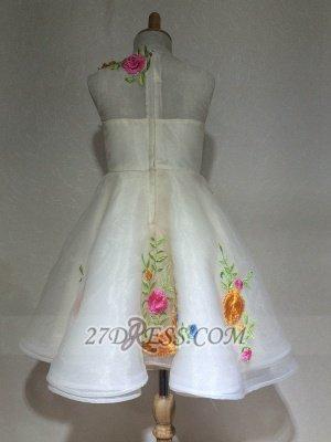 Beautiful Cinderella Embrodiary Flowers Sleeveless Flower Girl Dress_3