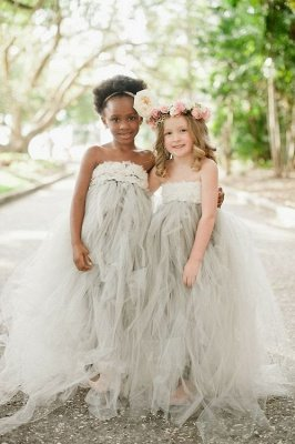 Romantic Strapless Tulle Girl Pageant Dress With Flowers_1