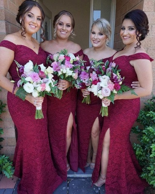 Luxury Off-the-Shoulder Bridesmaid Dress UK | 2019 Mermaid Lace Maid of Honor Dress UK_4