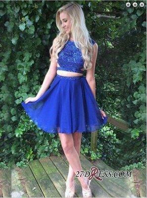 Beading Two-Piece Short Sleeveless Royal-Blue Modest Homecoming Dress UK_3