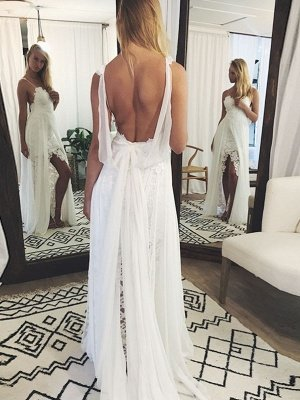 Chic Backless Lace Wedding Dresses UK Simple Side Slit Spaghetti -Strap Bridal Gowns_1