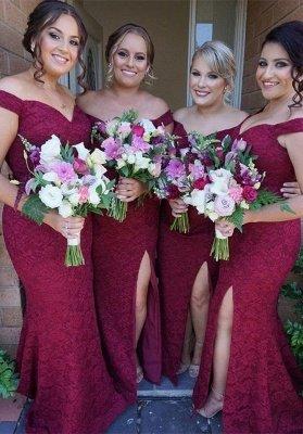 Luxury Off-the-Shoulder Bridesmaid Dress UK | 2019 Mermaid Lace Maid of Honor Dress UK_1