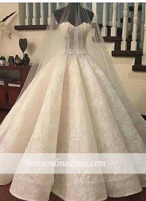 Gorgeous Lace Ruffles Sweetheart-Neck Ball-Gown Wedding Dresses UK_3