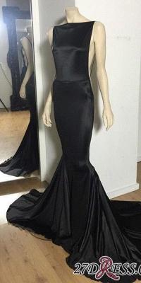 Long Open-Back Black Sexy Mermaid Court-Train Elegant Evening Dress UK_2
