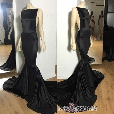 Long Open-Back Black Sexy Mermaid Court-Train Elegant Evening Dress UK_1