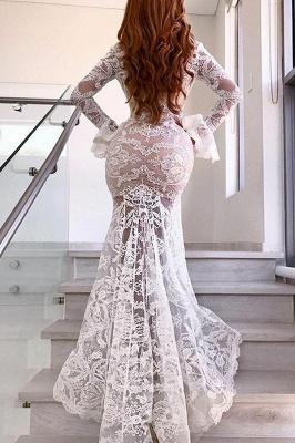 Elegant Long Sleeve V-Neck Prom Dress UK | Lace Evening Party Dress UK With Slit_3
