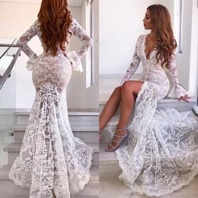 Elegant Long Sleeve V-Neck Prom Dress UK | Lace Evening Party Dress UK With Slit_4