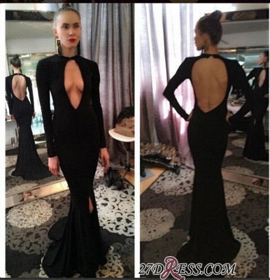 Long-Sleeve Prom Dress UK | Black Evening Gowns With Split_1