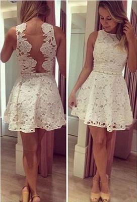Newest Lace Jewel Mini Homecoming Dress UK Sleeveless High Quality_1