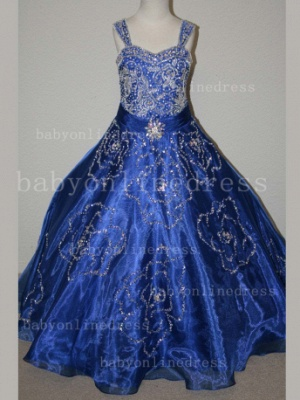 Beaded Girls Pageant Dresses for Sale Hot Beautiful Straps Crystal Organza Gowns for Sale_3