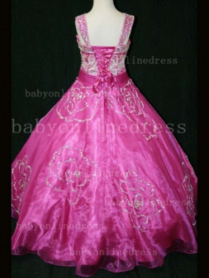 Beaded Girls Pageant Dresses for Sale Hot Beautiful Straps Crystal Organza Gowns for Sale_5