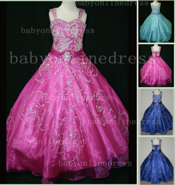 Beaded Girls Pageant Dresses for Sale Hot Beautiful Straps Crystal Organza Gowns for Sale_1