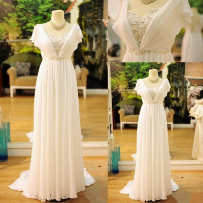Sexy White Long Chiffon Beading Prom Gown Floor Length  Evening Dress UK_2