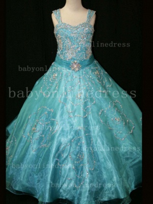 Beaded Girls Pageant Dresses for Sale Hot Beautiful Straps Crystal Organza Gowns for Sale_2