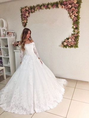 Modest Lace Off Shoulder Long Sleeve Ball Gown Wedding Dress_1