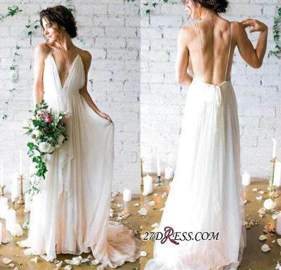 V-Neck Beach  Sleeveless Long Elegant Wedding Dress_1