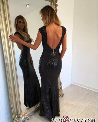 Black Mermaid Jewel Elegant Backless Sequined Cap-Sleeve Prom Dress UK_2