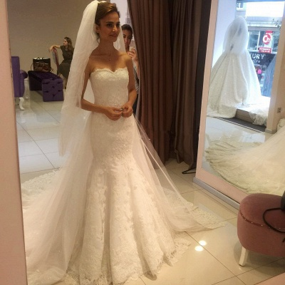 Elegant Sweetheart Lace Sexy Mermaid Wedding Dress_3