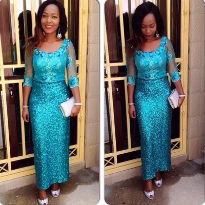 Gorgeous Sequins Half Sleeve Evening Dress UK Floor Length_1