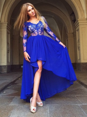 Delicate Royal Blue Long Sleeve A-line Homecoming Dress UK   Hi-Lo Party Gown_1