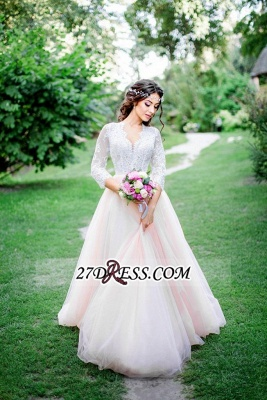 3/4-Length-Sleeve Long Lace Pink Tulle Royal Wedding Dress_3