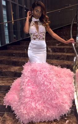 Modern Halter Lace Ruffles Prom Dress UK | Open Back Prom Dress UK BK0_1