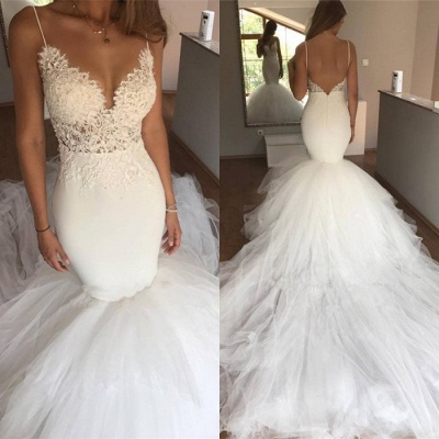 Gorgeous Spaghetti-Straps Wedding Dress | Lace Sexy Mermaid Bridal Gowns_4