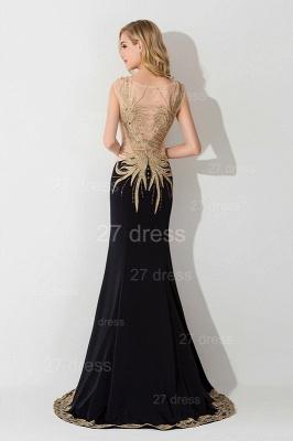 Elegant Mermaid Appliques Cap Sleeve Evening Dress UK Sweep Train_3