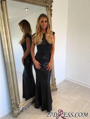 Black Mermaid Jewel Elegant Backless Sequined Cap-Sleeve Prom Dress UK_1