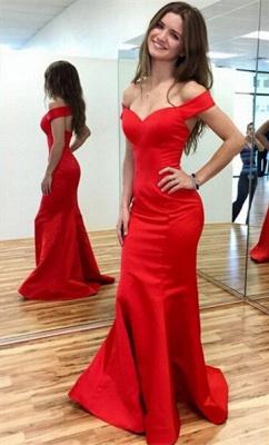 Elegant Red Mermaid Prom Dress UK Off-the-shoulder Sweep Train_2