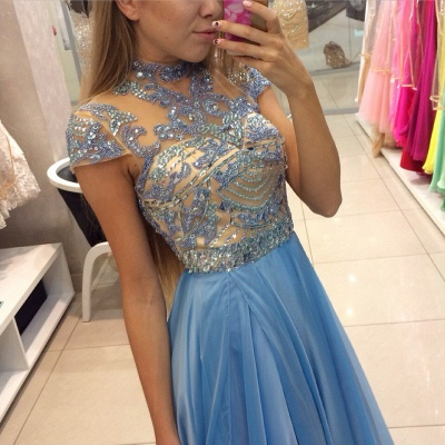 Delicate Beadings Chiffon A-line Prom Dress UK Cap Sleeve Sweep Train BA3824_3