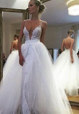 Gorgeous Spaghetti Strap Lace Ruffles Wedding Dress Online_2